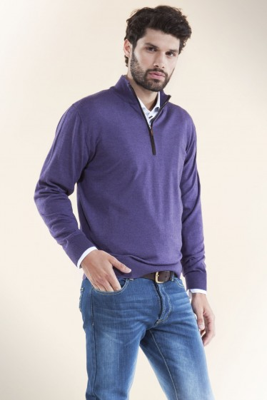 Italian Mock Zip Sweater Purple