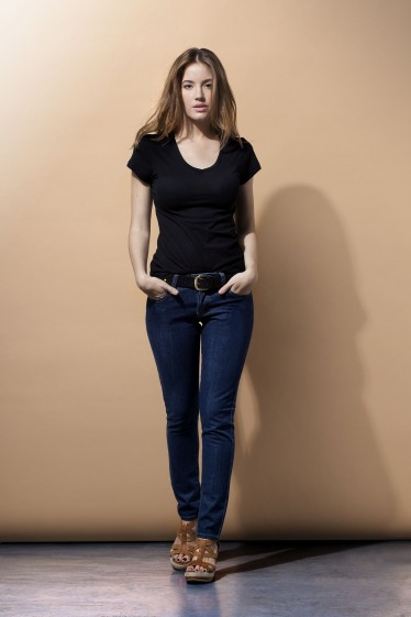 Women's V Neck Tee Shirt - Black