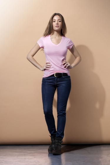 Women's V Neck Tee Shirt - Pink