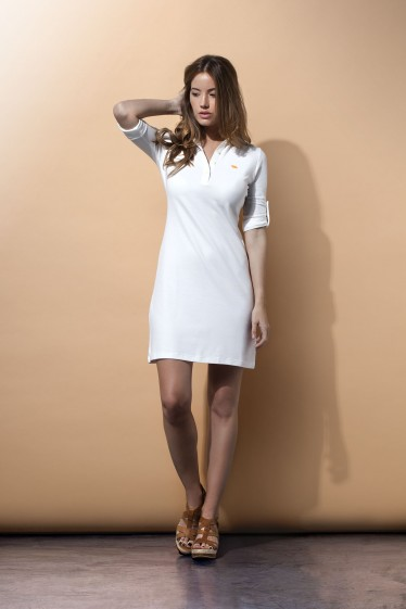 Women's Polo Dress 3/4 Sleeve White