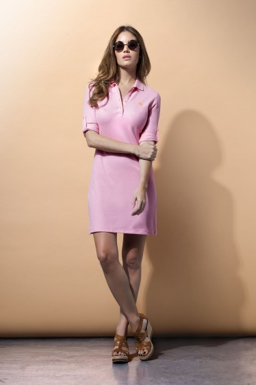 Women's Polo Dress 3/4 Sleeve Pink