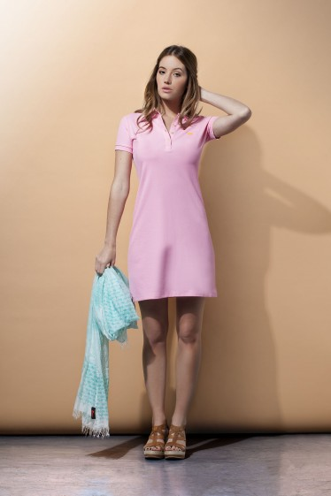 Women's Polo Dress Short Sleeve Pink