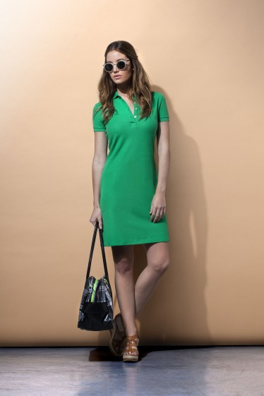 Women's Polo Dress Short Sleeve Green